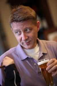 Michael Suba having a beer at the bar