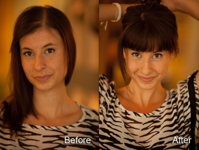 before and after photos of Natalie with thinning hair