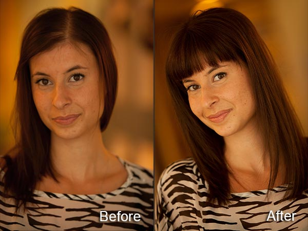 Before and after picture of woman wearing postiche hair topper